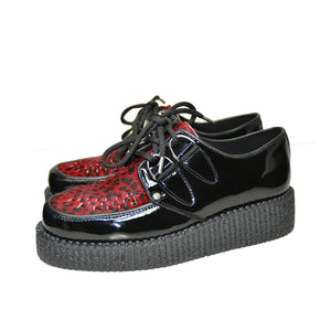 Creepers Black Patent, Red Leopard print on Hair Leather