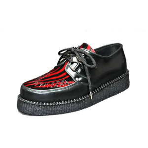 Creepers Black Boxand Red Zebrino print on Hair Leather