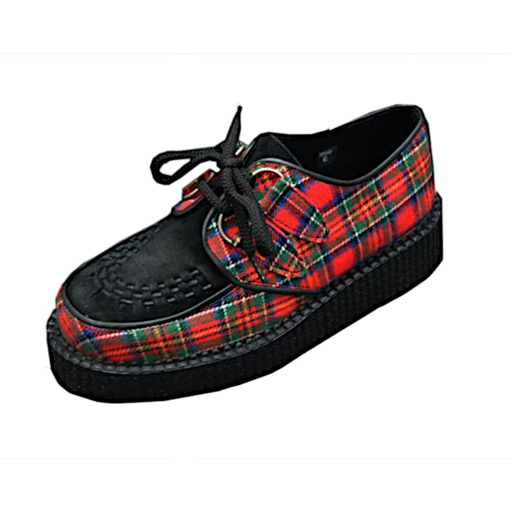 Creepers Red Tartan Fabric and Black Suede Leather