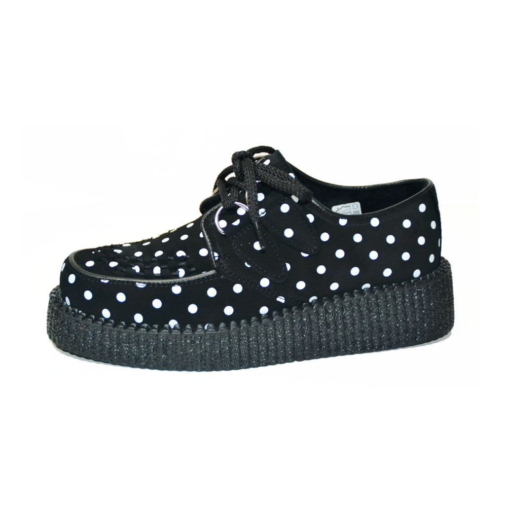 Creepers Black Suede with White Polka Dots