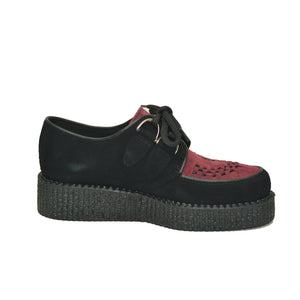 Creepers Black and Burgundy Suede Leather