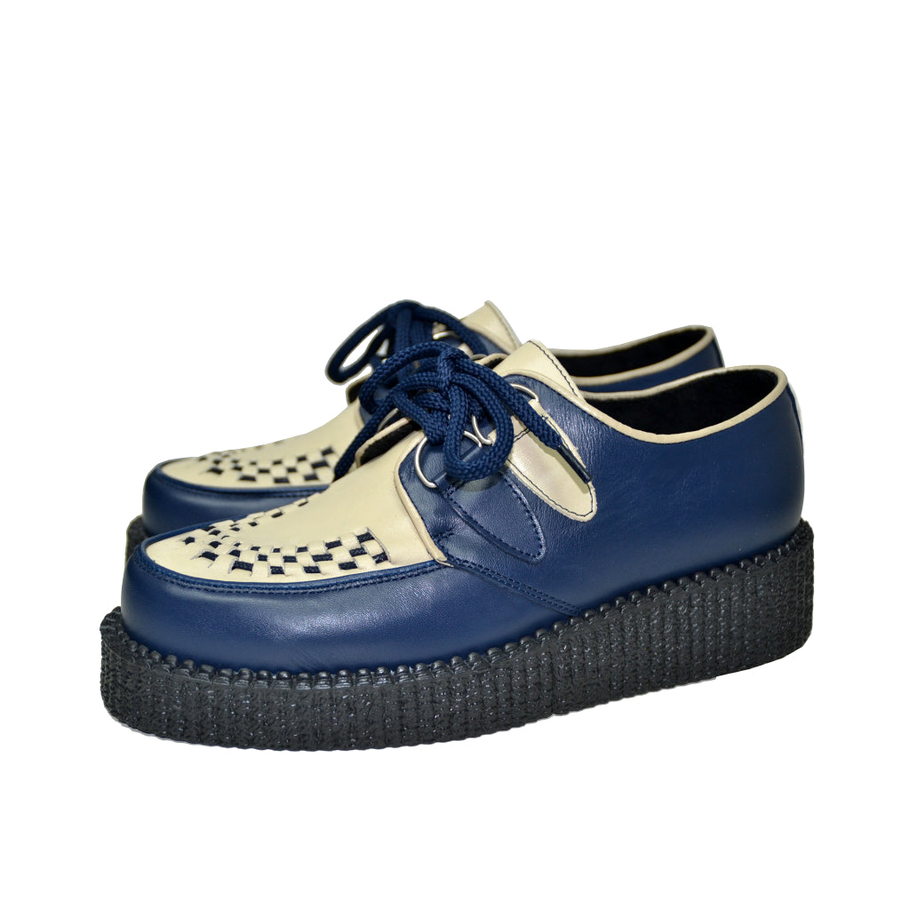Creepers Single Sole Royal Blue and Beige Grain Leather