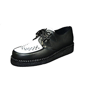 Creepers Black and White Grain Leather