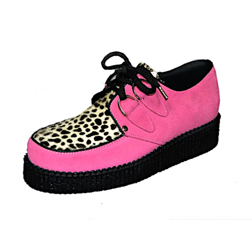 Creepers Pink Suede and White Leopard