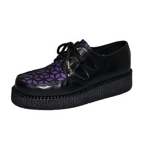 Creepers Black Box Leather and Black with Purple