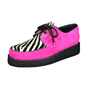 Creepers Fuxia Suede and White Zebrino