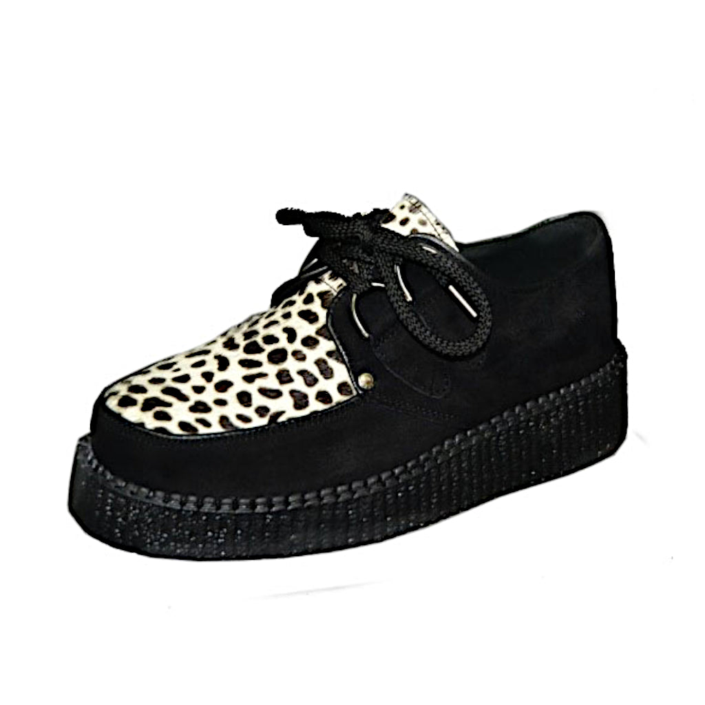 Creepers Black Suede and White Leopard