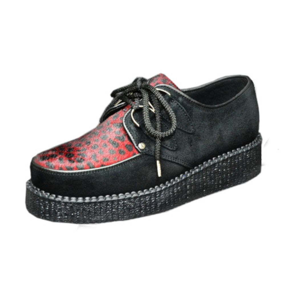 Creepers Black Suede and Red Leopard