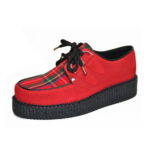 Creepers Red Suede and Red Tartan