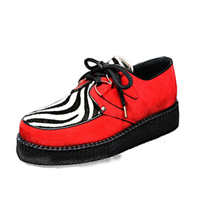 Creepers Red Suede and White Zebrino