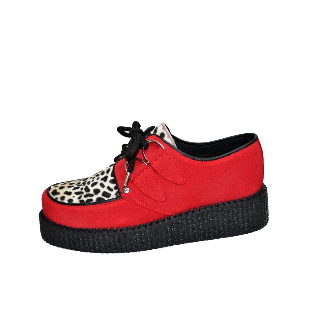 Creepers Red Suede Leather, Leopard Print on hair