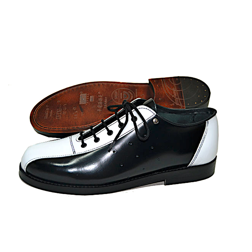 Bowling Shoe Black and White Leather Sole