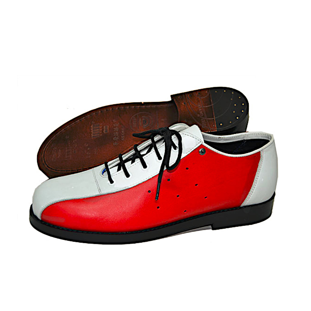Bowling Shoe White and Red Leather Sole
