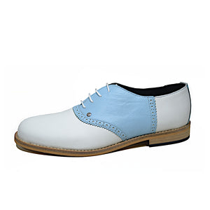 Saddle Shoe White and Light Blue