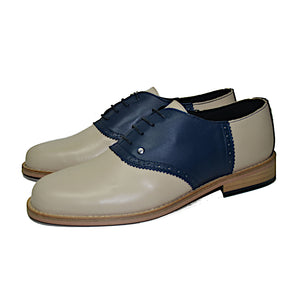 Saddle Shoe Beige and Navy Blue