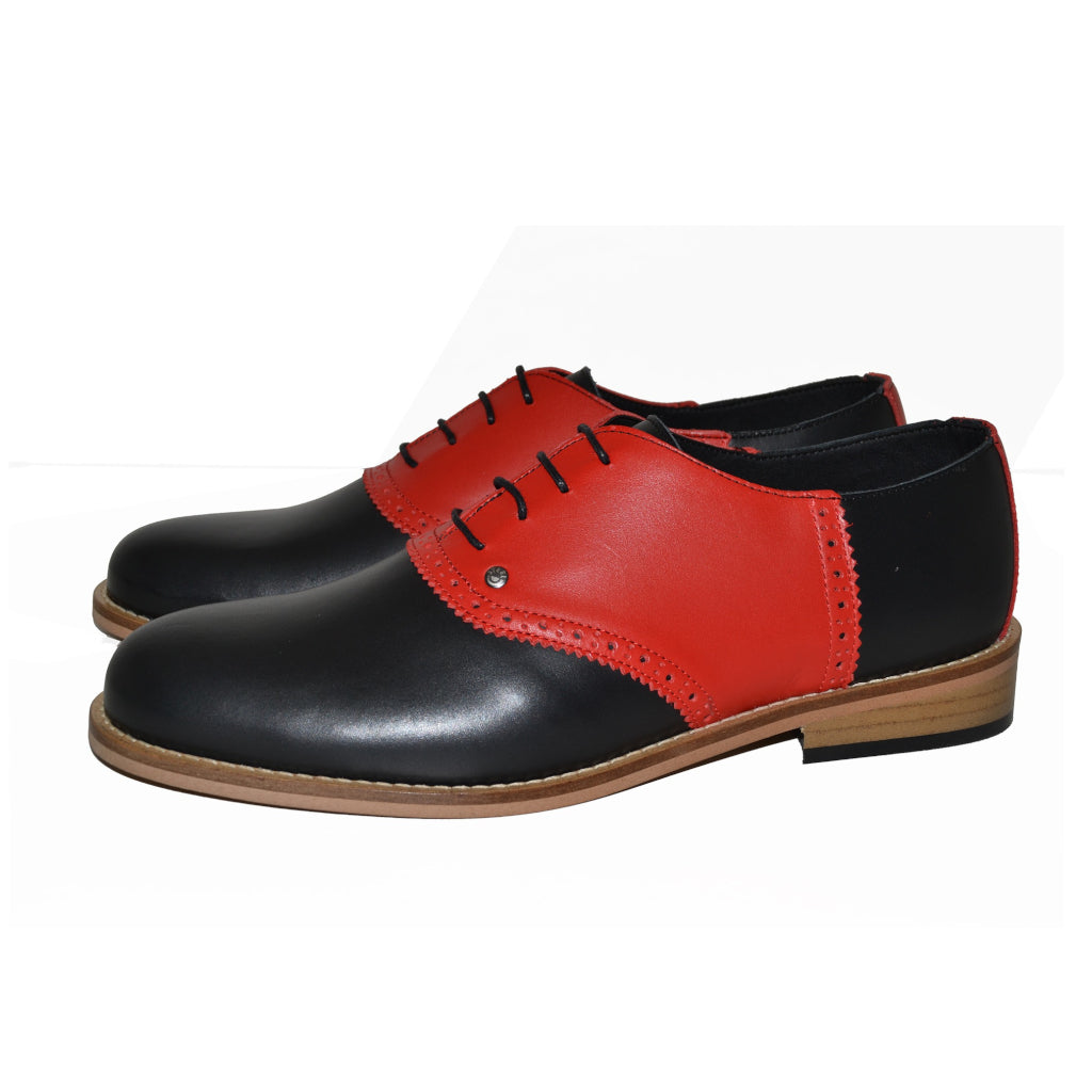 Saddle Shoe Black and Red