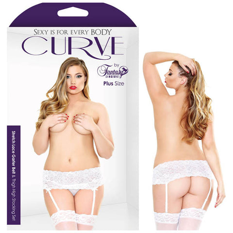 Curve Stretch Lace Garter Belt & Thigh High Stocking Set