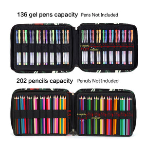 202 Colored Pencils Pencil Case - 136 Color Gel Pens Pen Bag or Marker Organizer - Universal Artist Use Supply Zippered Large Capacity Slot Super Big Professional Storage qianshan Leaf