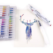Load image into Gallery viewer, 28 Watercolor Brush Pens, Tutorial Pad and Online Video Series by Chromatek. Real Brush Tip. Vivid. Smooth. Blendable. Long Lasting. Professional Artist Quality. 27 Colors 1 Blending Brush. ...