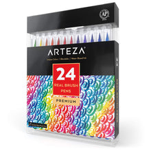 Load image into Gallery viewer, Arteza Real Brush Pens, 24 Colors for Watercolor Painting with Flexible Nylon Brush Tips, Paint Markers for Coloring, Calligraphy and Drawing with Water Brush for Artists and Beginner Painters