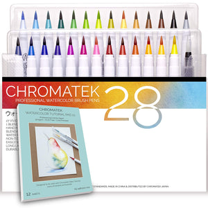 28 Watercolor Brush Pens, Tutorial Pad and Online Video Series by Chromatek. Real Brush Tip. Vivid. Smooth. Blendable. Long Lasting. Professional Artist Quality. 27 Colors 1 Blending Brush. ...