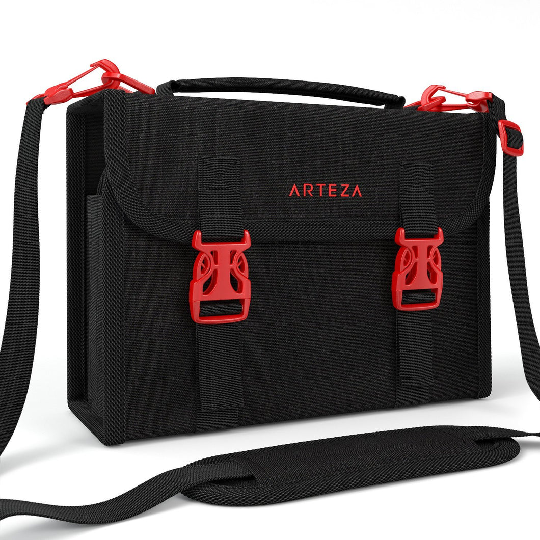 Arteza Marker Pen Organizer Case with 108 Slots, Removable Baldric, Zipper Pocket and Carrying Handle