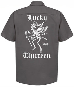Lucky 13 LM6850WS Winged Skully Button Shirt