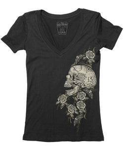 Lucky 13 LW1160SR The Skull Rose V-Neck Tee