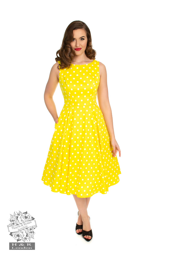 Hearts & Roses 4322 Cindy Yellow Polka Dot Swing Dress +Size