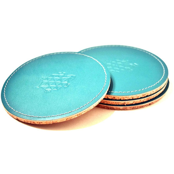 LINELL ELLIS LEATHER COASTERS IN TURQUOISE