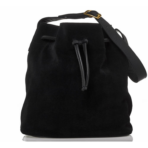PRE-ORDER - JOYCE BUCKET BAG - BLACK SUEDE - Linell Ellis