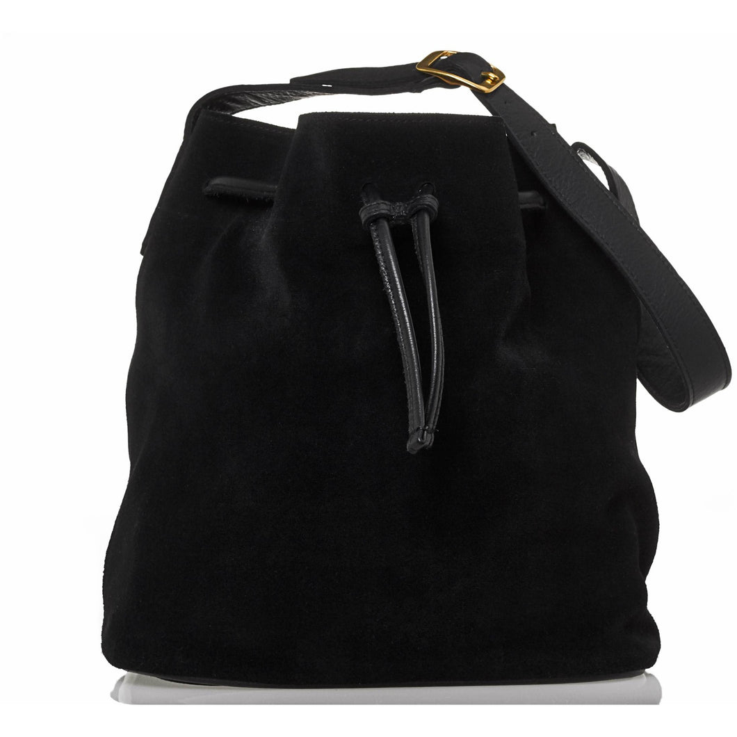 JOYCE BUCKET BAG - BLACK SUEDE - Linell Ellis