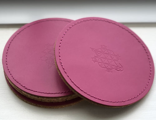 LINELL ELLIS LEATHER COASTERS IN PINK - Linell Ellis
