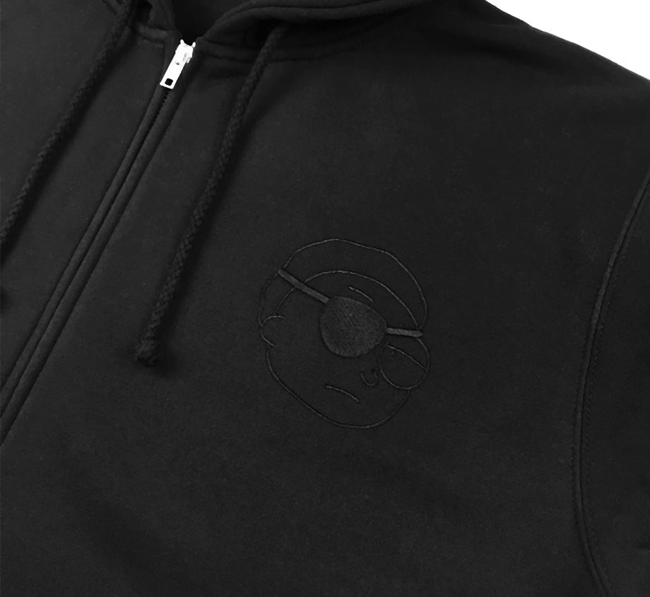 Evil Morty x Daylight Curfew - Black on Black Embroidered Zip Up