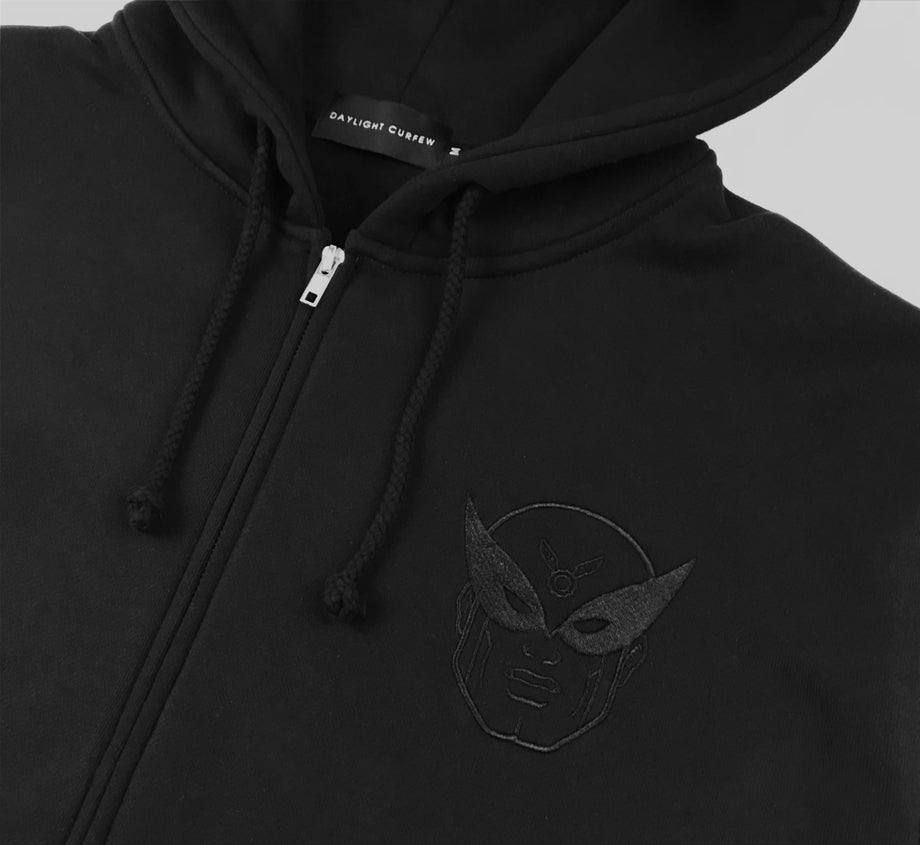 Harvey Birdman x Daylight Curfew - Black on Black Embroidered Zip Up