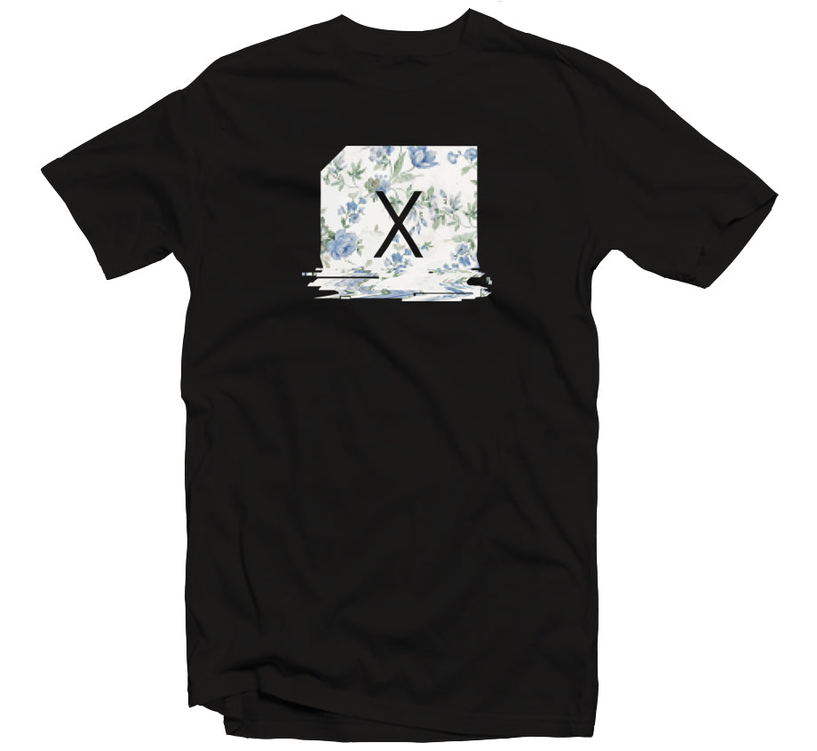 Floral Glitch T-shirt (Black)