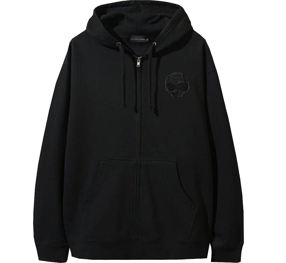 TOM x Daylight Curfew - Black on Black Embroidered Zip Up Hoodie