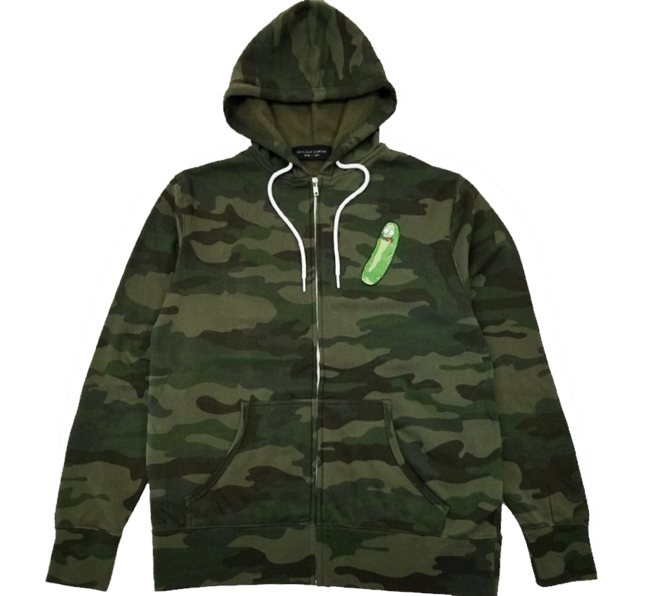 Pickle Rick Camo Zip Up Hoodie