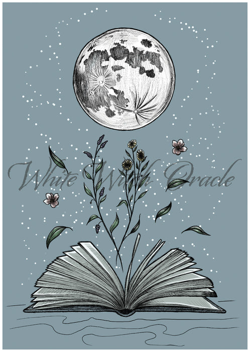 Full Moon Book Lovers Art Print