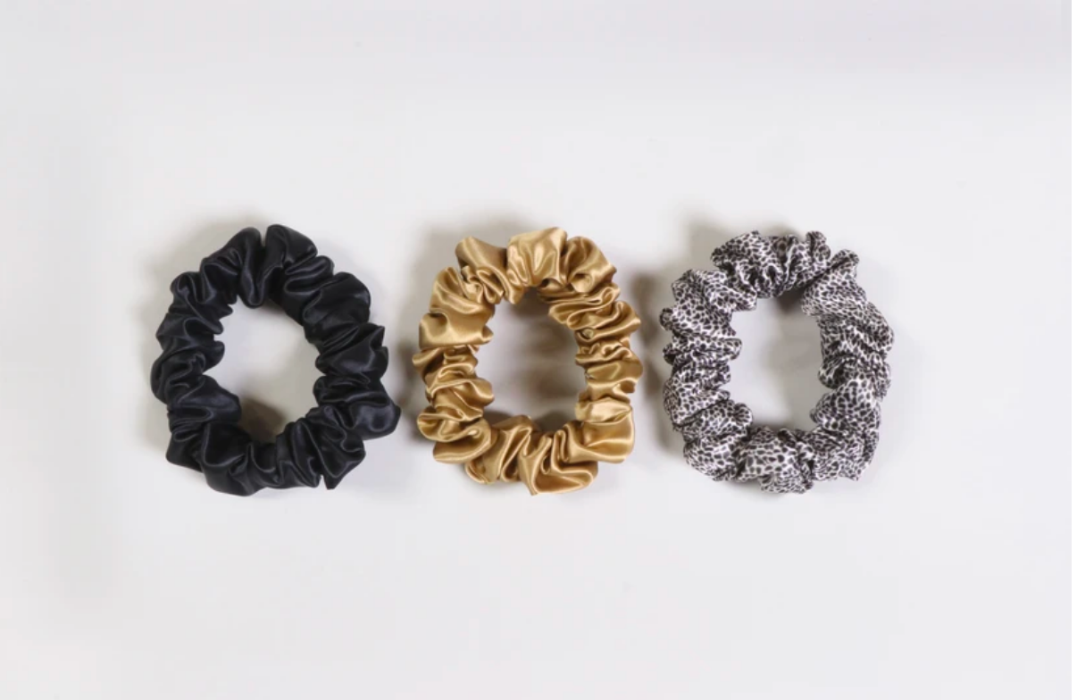 SLIP Scrunchies - Leopard, Gold, Black
