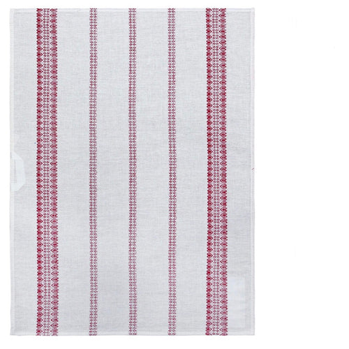 White & Red Stripe Tea Towel