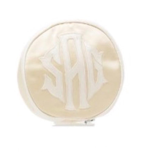 Appliqué Embroidered Jewelry Round Travel Bag - Maisonette Shop