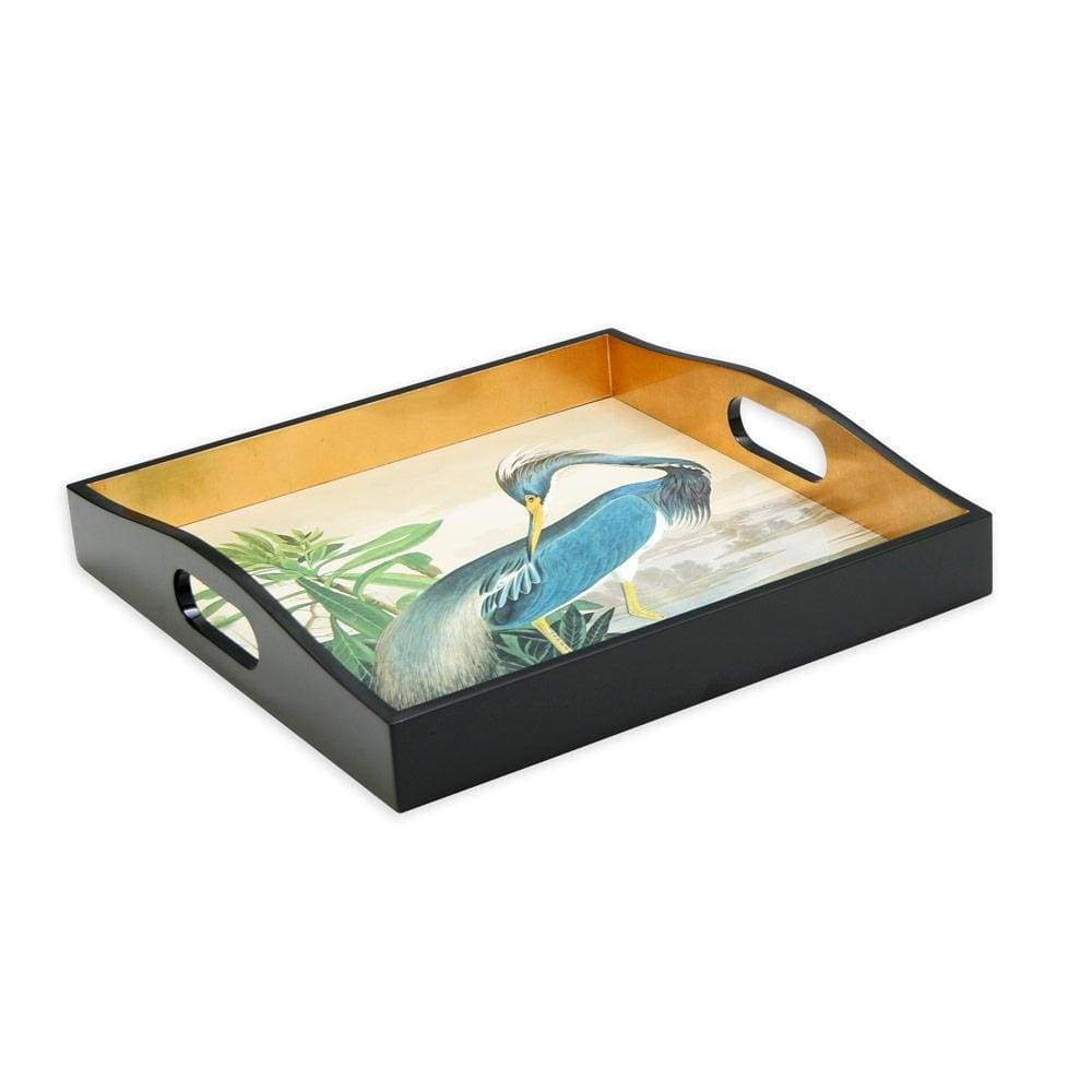 Blue Heron Lacquer Tray from the Chatsworth House Audubon Birds Collection - Maisonette Shop