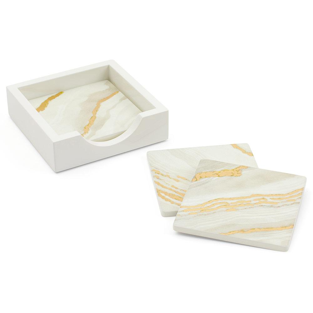 Marble Moonlight Square Lacquer Coasters in Holder - Set of 4 - Maisonette Shop
