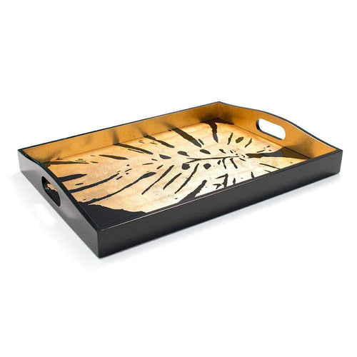 Palm Leaves Lacquer Large Rectangle Tray in Black & Gold - Maisonette Shop