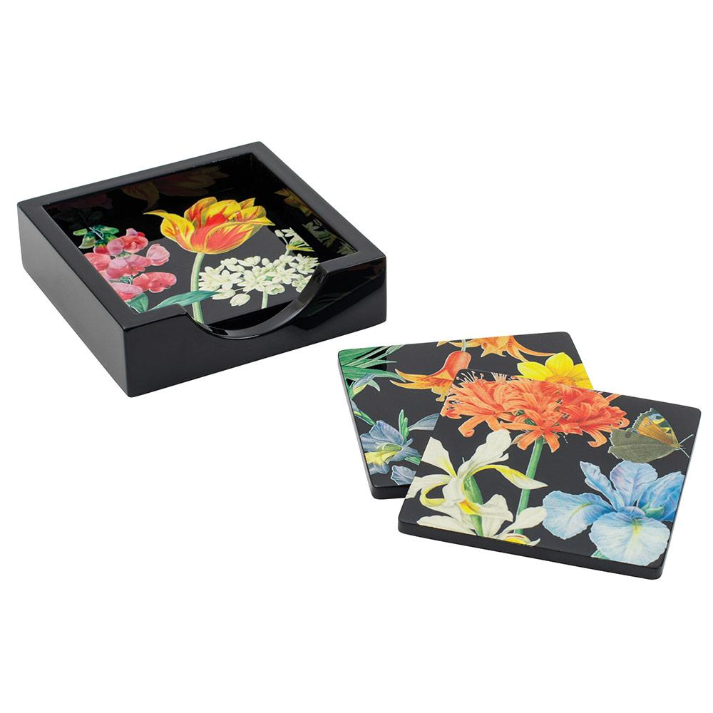 Redoute Floral Black Lacquer Coasters in Holder - Set of 4 - Maisonette Shop