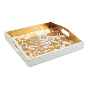 Modern Fern Lacquer Square Tray in White & Gold - Maisonette Shop