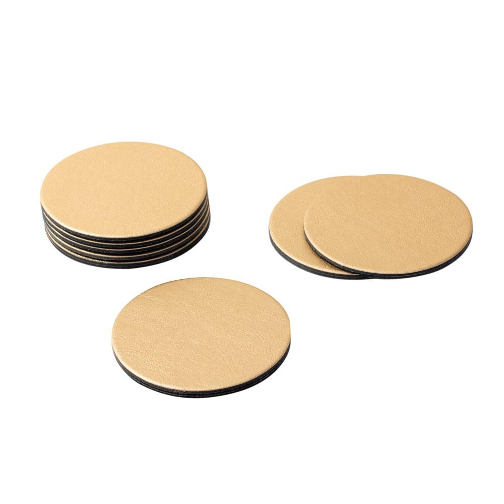 Round Leather Felt-Backed Coasters in Gold - 8 Per Box - Maisonette Shop