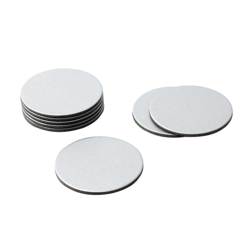Round Leather Felt-Backed Coasters in Silver - 8 Per Box - Maisonette Shop