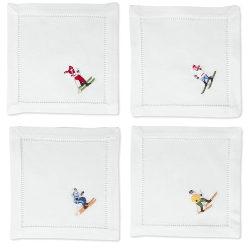 Skiers Cocktail Napkins Set